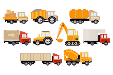 Construction and cargo transport big set, equipment for building and trucks vector illustration