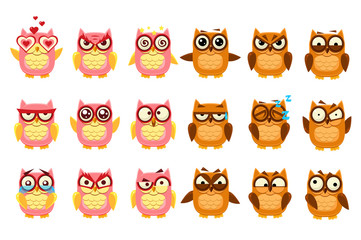 Wall Mural - Cute owls set, funny owlets with various emotions vector Illustration