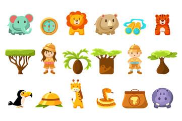 Safari big set, kids and funny african animals, birds, trees vector illustration