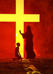 Fond de hotte en verre imprimé Rouge Jesus