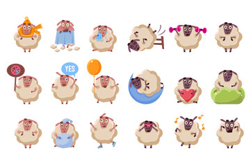 Funny sheep cartoon characters big set, ram with different situations and emotions vector illustration
