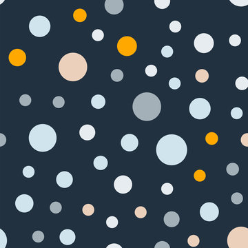 Colorful polka dots seamless pattern on bright 7 background. Enchanting classic colorful polka dots textile pattern. Seamless scattered confetti fall chaotic decor. Abstract vector illustration.