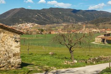 Beautiful Spanish landscape near the ancient village Hostales den Bas in Catalonia of Spain