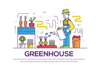 Gardener watering plants in greenhouse vector outline concept. Person with watering pot taking care of vegetables growing in hothouse thin line illustration. Banner with typography slogan text design