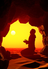 Man praying in the cave.3d render
