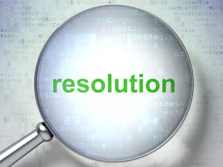 Law concept: magnifying optical glass with words Resolution on digital background, 3D rendering
