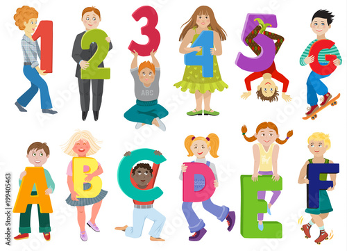 Kids Alphabet Vector Children With Cartoon Font And Boy Or Girl Character Holding Alphabetic Letter