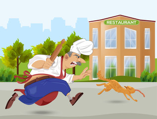 Chief cook chasing a cat Vector. Cartoon character. Outdoors restaurant backgrounds