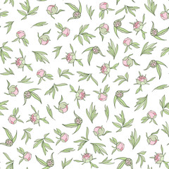 Seamless pattern with peonies and green leaves on a white background.