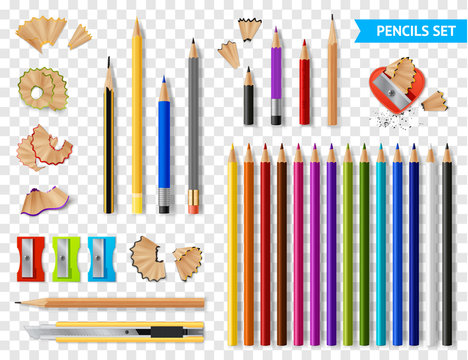 Multicolored Sharpened Pencils Transparent Set