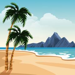 Beautiful island cartoon vector illustration graphic design