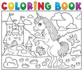 Poster For Kids Coloring book standing unicorn theme 2