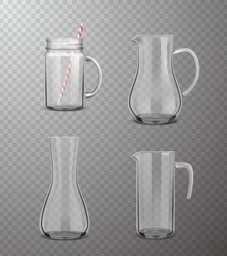 Glass Jugs Realistic Transparent Set