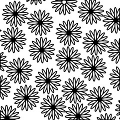 outlined flowers daisies decoration pattern vector illustration