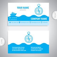 business card - Navigation compass - maritime symbols - company presentations