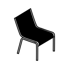 deck chair beach supply furniture icon vector illustration