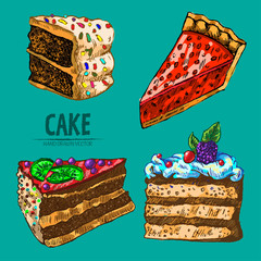 Digital vector detailed line art pie and cake