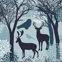 Animal seamless pattern with silhouettes of trees, leaves, deers and birds. Endless texture of winter design. Graphic wallpaper design in blue color tones.