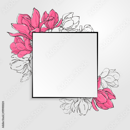 Banner Template With Square Paper With Black Border And Sketch