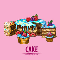 Digital vector detailed line art sliced cake