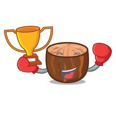 Boxing winner nutmeg mascot cartoon style