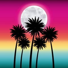 full moon party summer pink background high palms moon vector illustration