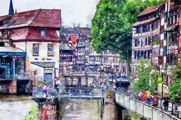 part of old  Strasbourg,  France