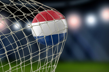 Netherlands soccerball in net