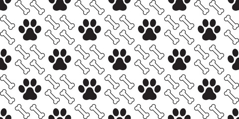 Dog Bone paw Seamless pattern vector cat footprint Bone doodle wallpaper repeat background
