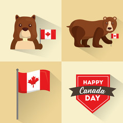 happy canada day flag beaver and bear banners vector illustration