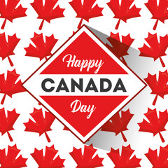 happy canada day badge maple leaves pattern vector illustration