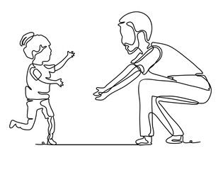 Pretty cute girl running to her father. Continuous line drawing. Vector monochrome, drawing by lines. People in the Park. Family concept. Happiness in the Everyday