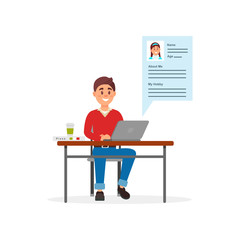 Young smiling man communicating on laptop computer using dating web site or app vector Illustration on a white background