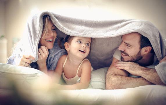 Fun under blanket.