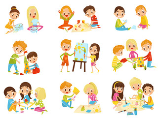 Kids creativity set, childrens creativity, education and development concept vector Illustrations on a white background