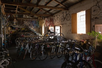 Bicycles in workshop