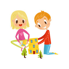 Cute little boy and girl cutting application details, kids creativity, education and development concept vector Illustration