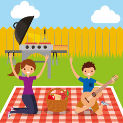 happy couple holding guitar with grill picnic in the backyard vector illustration