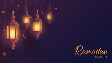 Ramadan kareem festive web banner. Beautiful greeting card design with lantern or fanoos in paper art style. Vector illustration with calligraphy lettering.