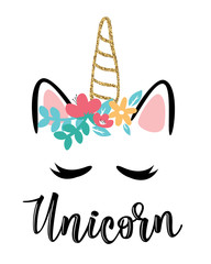 Vector illustration of a magic cute unicorn with flowers