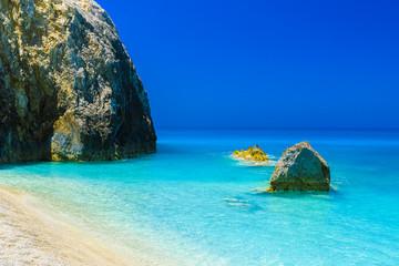 Wall Mural - Blue lagoon at Egremni beach on the Ionian sea, Lefkada island, Greece.