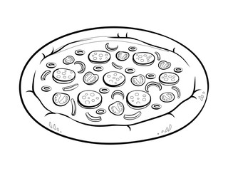 Round pizza coloring book vector illustration