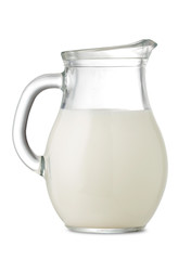 decanter of milk isolated on white background