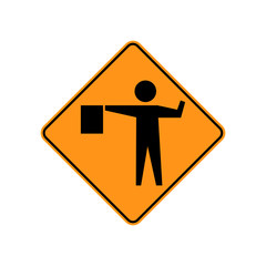 USA traffic road signs. a flagger is stationed ahead to control road user . vector illustration