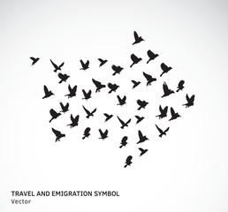 Travel and emigration birds symbol black and white.