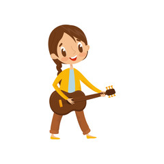 Cute girl playing guitar, little musician character with musical instrument cartoon vector Illustration on a white background