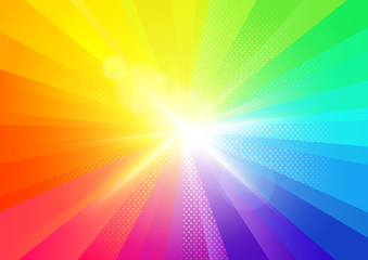 A bright rainbow burst radiant background. Vector illustration