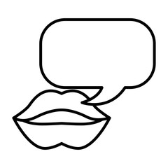 female mouth lips with chat bubble vector illustration outline