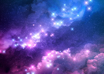 Abstract pink and blue galaxy background filled with bright stars. Raster illustration.