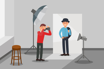 Male model in fashion clothes posing at photo session, photographer making photos, photo studio interior with professional equipment vector Illustration